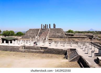 Famous Toltec Atlantes - columns on top Pyramid of Quetzalcoatl, Tula de Allende, Hidalgo state, Mexico. UNESCO world heritage site