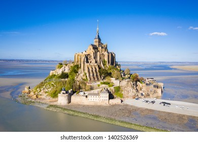 The famous of top view with blue sky at Mont-Saint-Michel, Normandy, France
