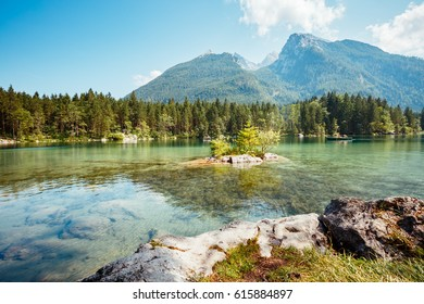 Famous tourist attraction of calm lake Hintersee. Picturesque scene. Location resort Ramsau, National park Berchtesgadener Land, Upper Bavaria, Germany Alps, Europe. Explore the world's beauty.