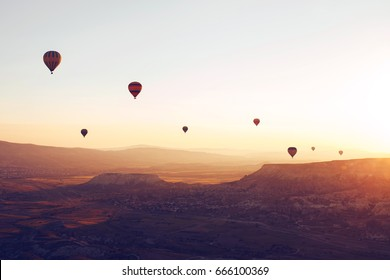 The famous tourist attraction of Cappadocia is an air flight. Cappadocia is known all over the world as one of the best places for flights with balloons. Cappadocia, Turkey.