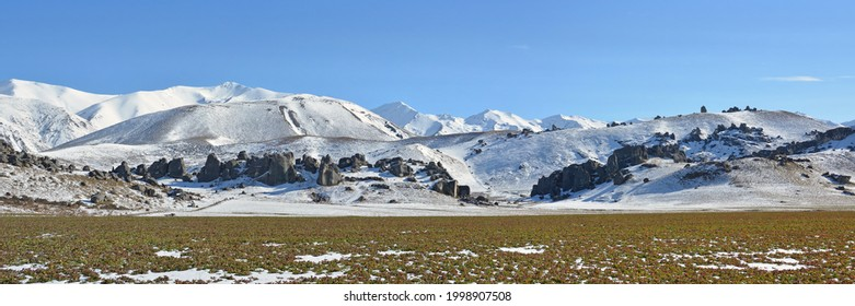 Famous Tourist attraction - Castle Hill Rocks in Winter, South Island,  New Zealand.