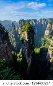 Famous tourist attraction of China - Avatar Hallelujah Mountain in Zhangjiajie stone pillars cliff mountains on sunset at Wulingyuan, Hunan, China