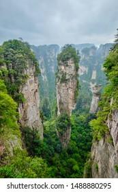 Famous tourist attraction of China - Avatar Hallelujah Mountain in Zhangjiajie stone pillars cliff mountains at Wulingyuan, Hunan, China