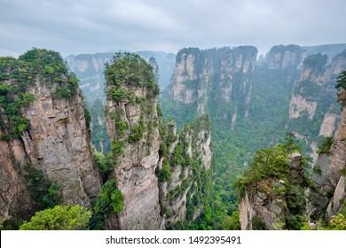Famous tourist attraction of China - Hallelujah Mountain in Zhangjiajie stone pillars cliff mountains at Wulingyuan, Hunan, China