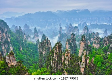 Famous tourist attraction of China - Zhangjiajie stone pillars cliff mountains in fog clouds at Wulingyuan, Hunan, China