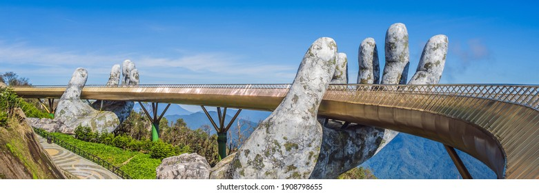 Famous tourist attraction - Golden bridge at the top of the Ba Na Hills, Vietnam BANNER, LONG FORMAT