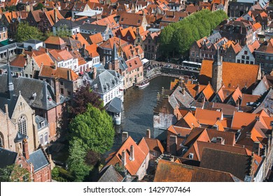 Famous tourist destination for photos in Bruges, Belgium. Aerial view, view from the Belfort tower. Corner of the street where all the tourists take a typical Bruges snapshot.