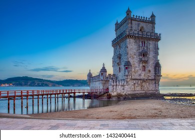 Famous Tourist Destinations. Belem Tower on Tagus River in Lisbon at Blue Hour, Portugal.Horizontal Shot