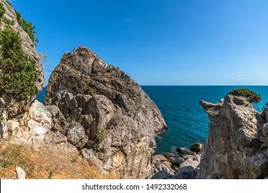 The Famous tourist Diva rock in Simeiz, Crimea