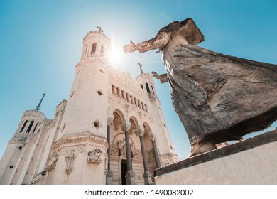 Famous tourist landmark of Lyon is a Notre Dame Fourviere Cathedral. Travel and catholic destinations in France