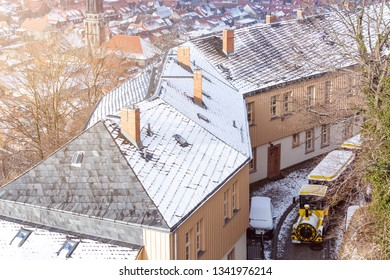 Famous tourist train is driving through the streets of Wernigerode, Winter