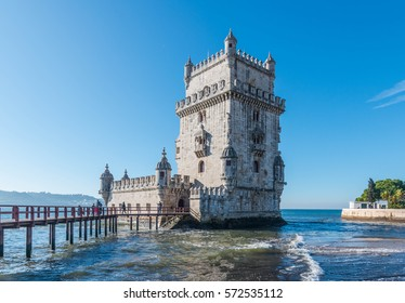 The famous Tower of Belem in Lisbon, Portugal.