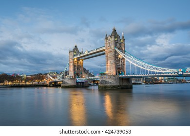 The famous Tower Bridge at dusk, London, UK