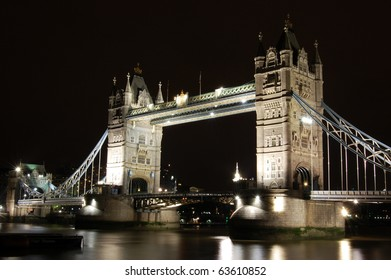 The famous Tower Bridge in London at night.