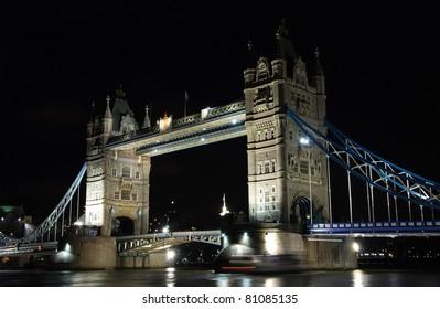 Famous Tower Bridge of London shot at night. Great Britain.