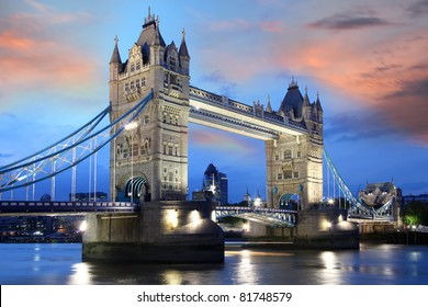 Famous Tower Bridge at night London, UK