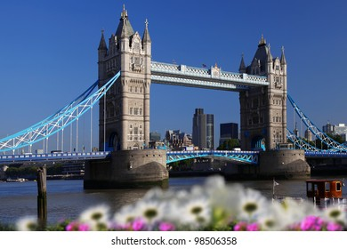 Famous Tower Bridge with spring flowers in London, UK