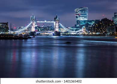 Famous Tower Bridge Thames River at night Capital of England London