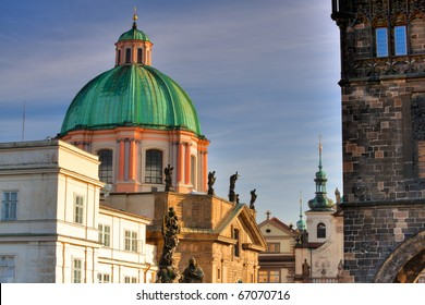 Famous towers on Charles Bridge in Prague