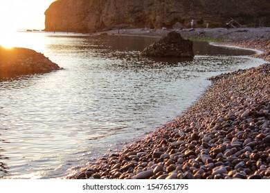 The famous Trabocchi coast of Punta Aderci, during sunrise