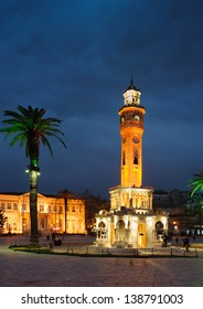 Famous traditional Clock Tower in Izmir, Turkey at night