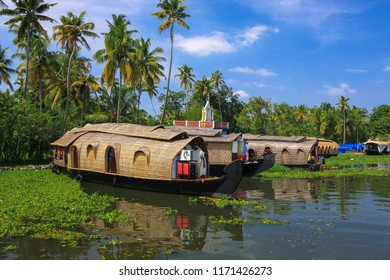 Famous traditional houseboats in backwaters of kerala,major attraction of tourists,with palm trees and greenery in background,Kerala , South India