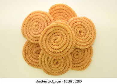 A famous traditional Indian Diwali snack known as murukku. It was deep fried snack with crunchy texture and have a taste of spice due to the combination of herb and spices as a main ingredient.