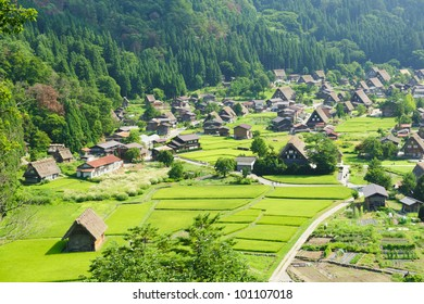 Famous traditional Japanese village Ogimachi - Shirakawa-go from above