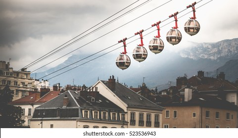 famous transparent cable cars that links the Bastille with the city center of Grenoble