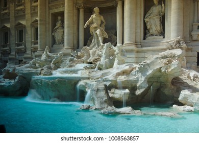 The famous Trevi Fountain (Fontana di Trevi) in Rome, designed by Nicola Salvi in Baroque and Rococo fashion.