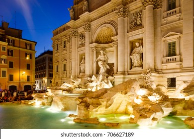 The famous Trevi Fountain illuminated at night in Rome, Italy