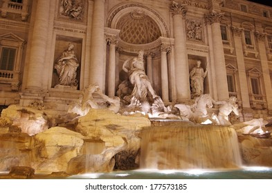 Famous Trevi fountain in the night. Rome, Italy