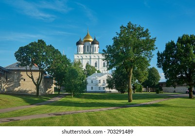 Famous Trinity cathedral. Pskov city, Russia. July 12, 2017