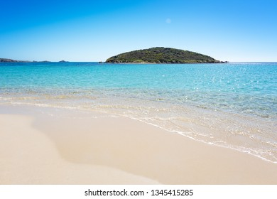 Famous Tuerredda beach on the south of Sardinia near Teulada, with white sand and turquoise sea.