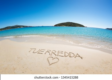 Famous Tuerredda beach on the south of Sardinia near Teulada, with its name written in the sand.