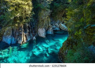 Famous turist attraction - Blue Pools, Haast Pass,  New Zealand, South Island