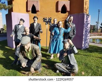 Famous Turkish comedians. Kemal Sunal, Adile Nasit, Cem Yilmaz, Beyazit Ozturk. Realistic models. 80 Binde Devr-i Alem Parki. Konya - Turkey. 7 November 2018.