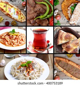The famous Turkish food images and famous Turkish tea