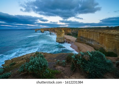 famous twelve apostles at sunrise, great ocean road in victoria, australia