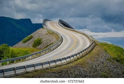 Famous twisted bridge at Atlantic Road close view. Norway landmarks.