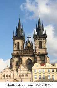 Famous Tyn Cathedral on Prague Town Square