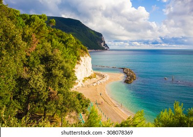The famous Urbani beach of Sirolo, Monte Conero, Marche - Italy.