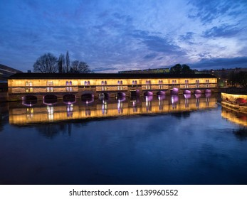 A famous  Vauban Dam in the evening in France with its reflection