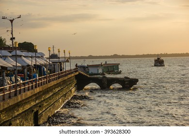 The Famous Ver o Peso Market in Belem and the Sea with the Sunset - Brazil