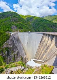 Famous Verzasca dam in Switzerland.