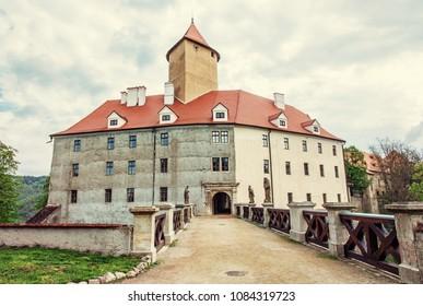 Famous Veveri castle, Moravia, Czech republic. Ancient architecture. Travel destination. Yellow photo filter.