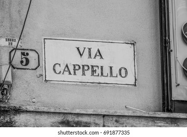 Famous Via Cappello in Verona - home of Shakespeare s Juliet
