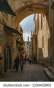 Famous Via Dolorosa ( way of sorrow, believed to be the path that Jesus walked on the way to his crucifixion ) in jerusalem in israel ( palestine ) 24 october 2018