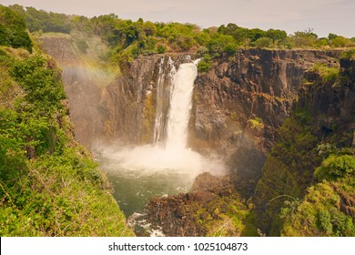 The famous Victoria Falls on the Zambezi River in South Africa