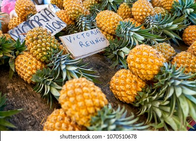 famous victoria pineapple on local market of reunion island